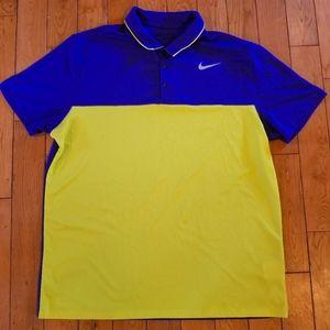 Nike Golf Dri-fit Athletic Lime Navy Collar Shirt